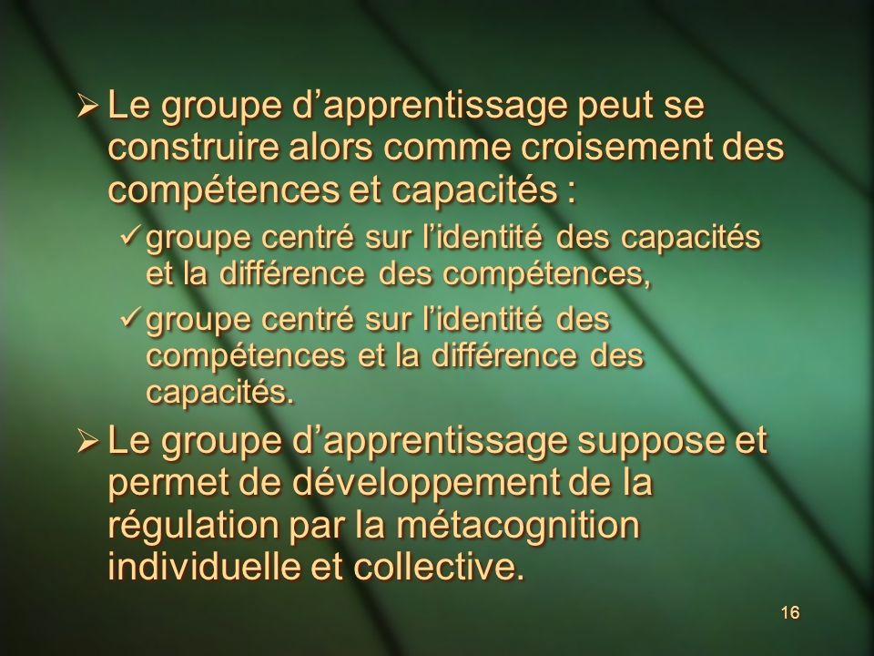 16 Le groupe dapprentissage peut se construire alors comme croisement des compétences et capacités : groupe centré sur lidentité des capacités et la différence des compétences, groupe centré sur lidentité des compétences et la différence des capacités.