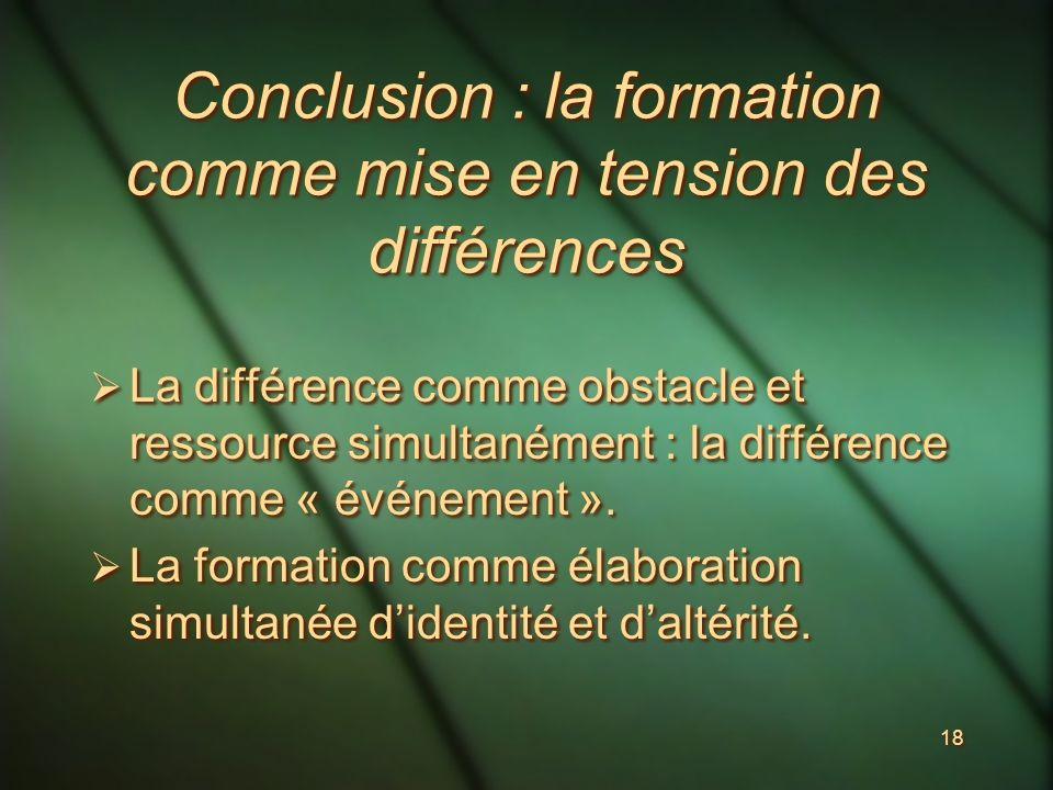 18 Conclusion : la formation comme mise en tension des différences La différence comme obstacle et ressource simultanément : la différence comme « événement ».