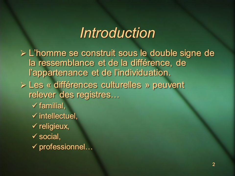 2 Introduction Lhomme se construit sous le double signe de la ressemblance et de la différence, de lappartenance et de lindividuation.