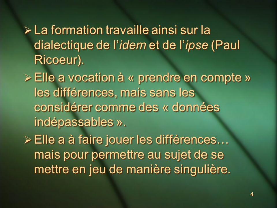 4 La formation travaille ainsi sur la dialectique de lidem et de lipse (Paul Ricoeur).