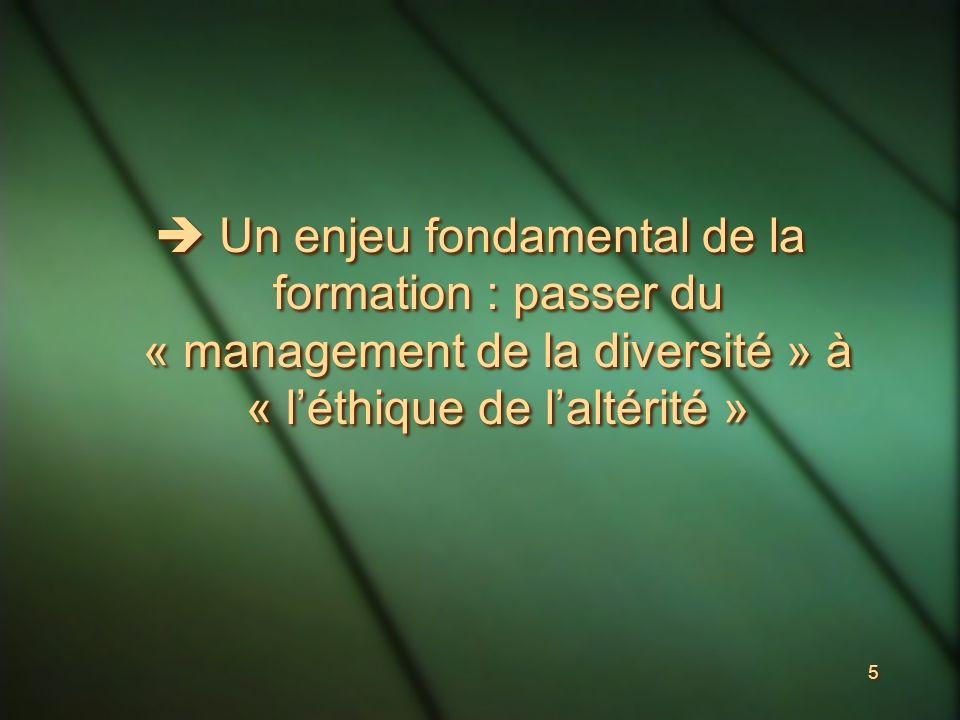 5 Un enjeu fondamental de la formation : passer du « management de la diversité » à « léthique de laltérité »