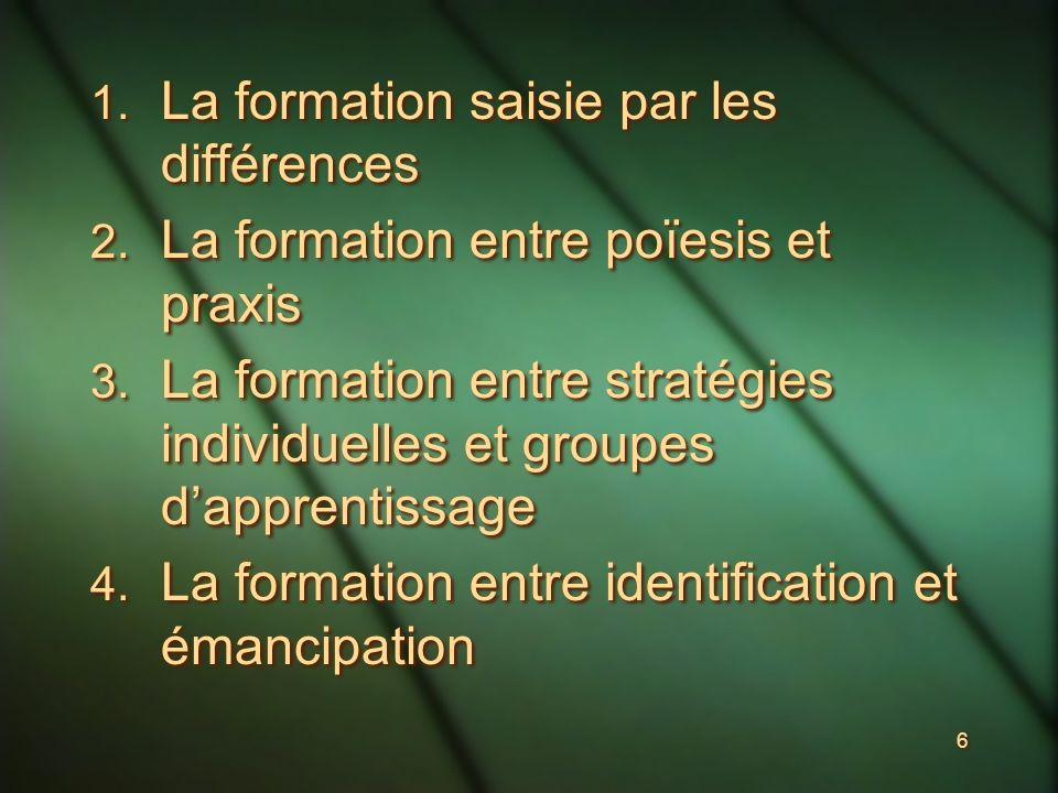 6 1. La formation saisie par les différences 2. La formation entre poïesis et praxis 3.