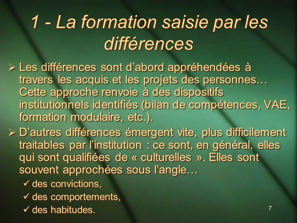 7 1 - La formation saisie par les différences Les différences sont dabord appréhendées à travers les acquis et les projets des personnes… Cette approche renvoie à des dispositifs institutionnels identifiés (bilan de compétences, VAE, formation modulaire, etc.).
