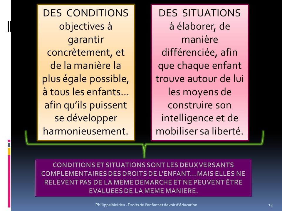 Philippe Meirieu - Droits de l enfant et devoir d éducation 13 DES CONDITIONS objectives à garantir concrètement, et de la manière la plus égale possible, à tous les enfants… afin quils puissent se développer harmonieusement.