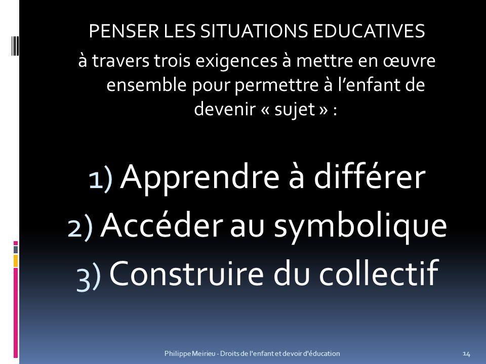 PENSER LES SITUATIONS EDUCATIVES à travers trois exigences à mettre en œuvre ensemble pour permettre à lenfant de devenir « sujet » : 1) Apprendre à d