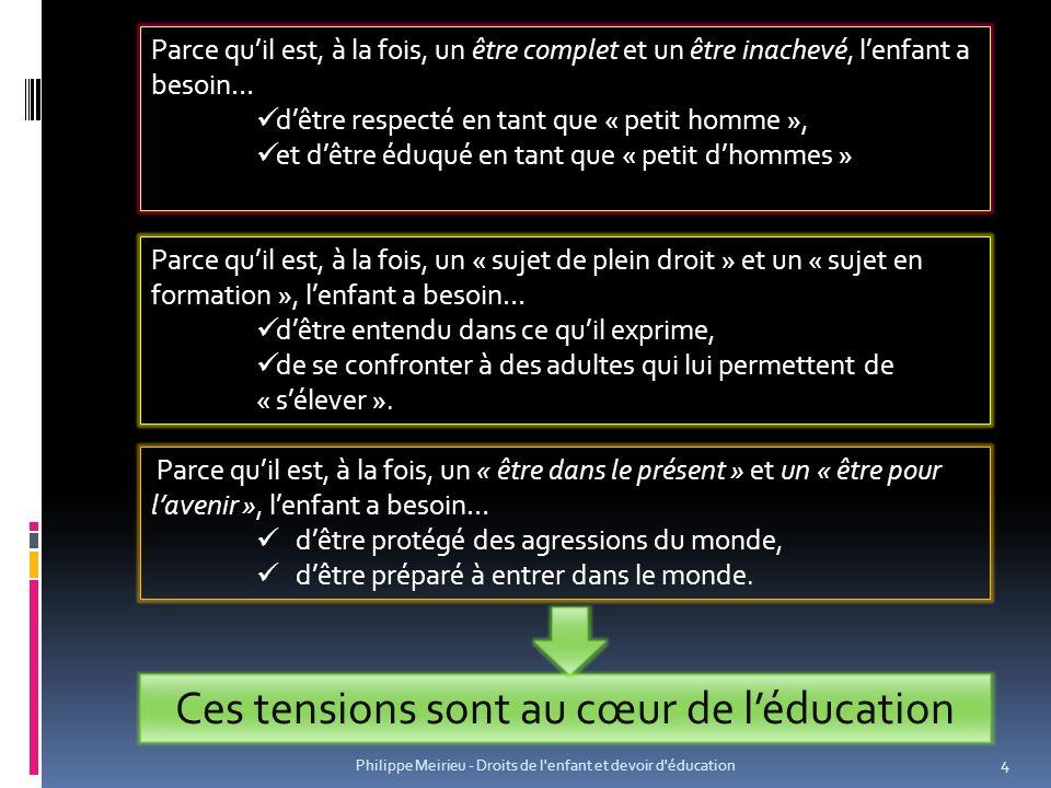 Philippe Meirieu - Droits de l enfant et devoir d éducation 15 1 – Apprendre à différer Mettre en place des dispositifs qui permettent de « différer », dans les deux sens du terme : 1.Surseoir à la réaction immédiate : « Ta parole sera entendue, mais pas maintenant… A tel moment et dans telles conditions… » (contre « Ta parole ne nous intéresse pas .