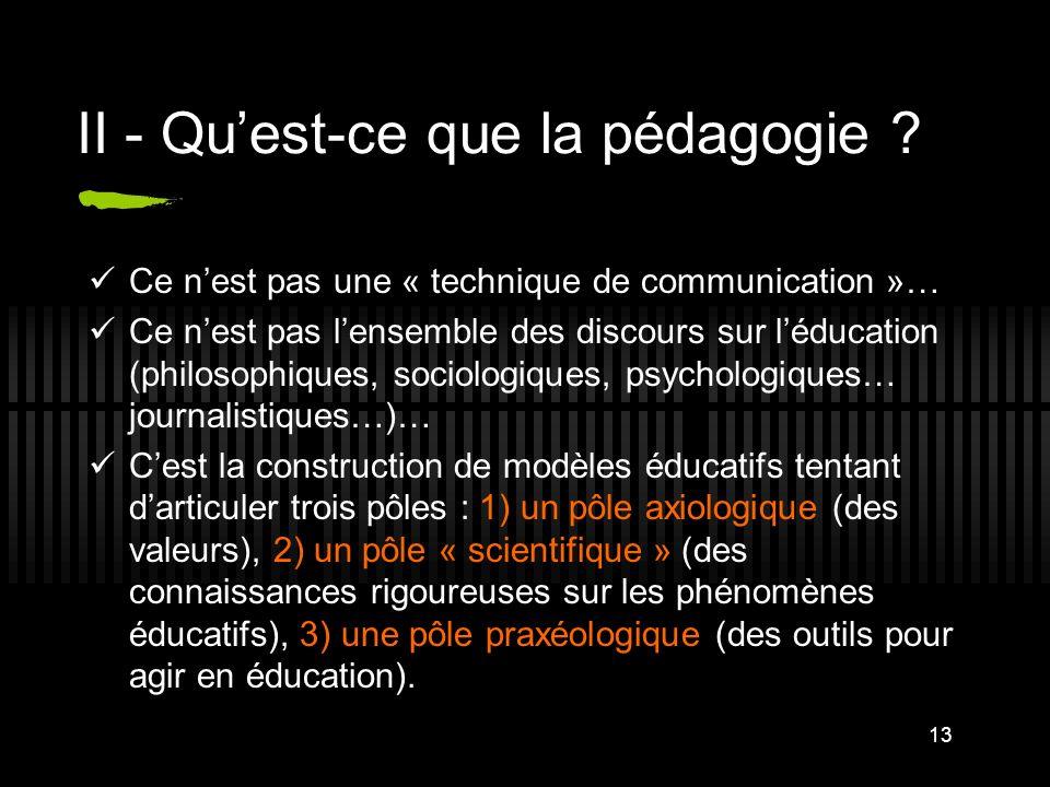 13 II - Quest-ce que la pédagogie ? Ce nest pas une « technique de communication »… Ce nest pas lensemble des discours sur léducation (philosophiques,