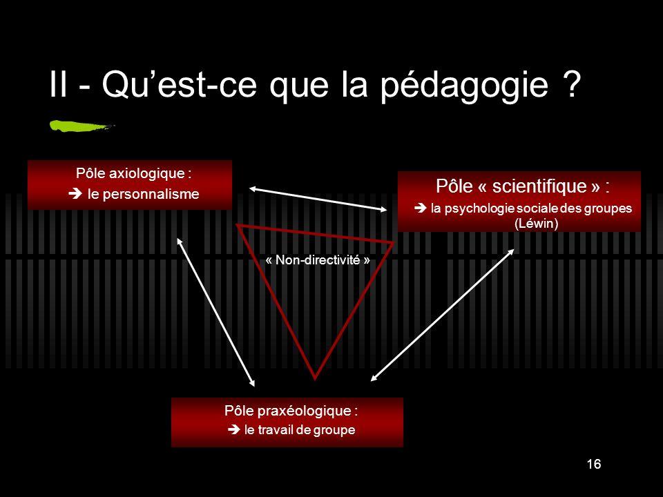 16 II - Quest-ce que la pédagogie ? Pôle axiologique : le personnalisme Pôle praxéologique : le travail de groupe Pôle « scientifique » : la psycholog