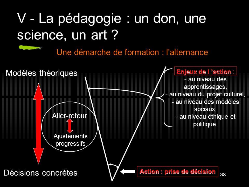 38 V - La pédagogie : un don, une science, un art ? Action : prise de décision Enjeux de l action Enjeux de l action : - au niveau des apprentissages,