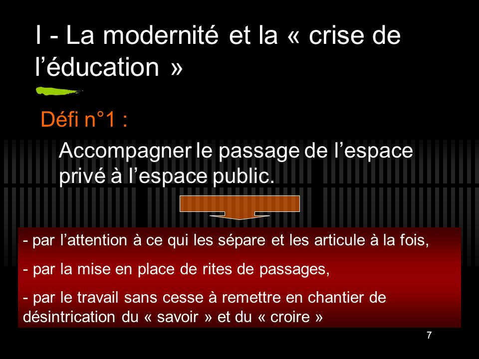 7 I - La modernité et la « crise de léducation » Défi n°1 : Accompagner le passage de lespace privé à lespace public. - par lattention à ce qui les sé