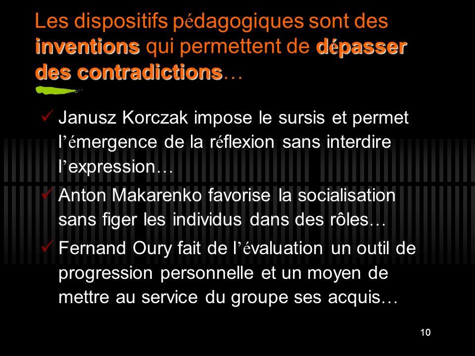 10 inventionsd é passer des contradictions Les dispositifs p é dagogiques sont des inventions qui permettent de d é passer des contradictions … Janusz