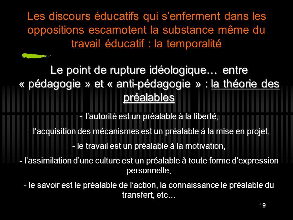 19 Le point de rupture idéologique… entre « pédagogie » et « anti-pédagogie » : la théorie des préalables - lautorité est un préalable à la liberté, -