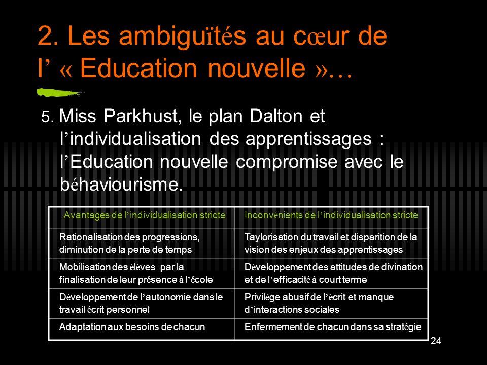 24 2. Les ambigu ï t é s au c œ ur de l « Education nouvelle »… 5. Miss Parkhust, le plan Dalton et l individualisation des apprentissages : l Educati
