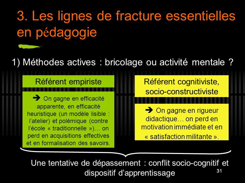 31 3. Les lignes de fracture essentielles en p é dagogie 1) Méthodes actives : bricolage ou activité mentale ? Référent empiristeRéférent cognitiviste