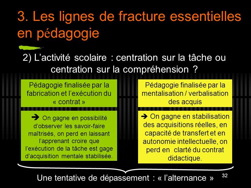 32 3. Les lignes de fracture essentielles en p é dagogie 2) Lactivité scolaire : centration sur la tâche ou centration sur la compréhension ? Pédagogi