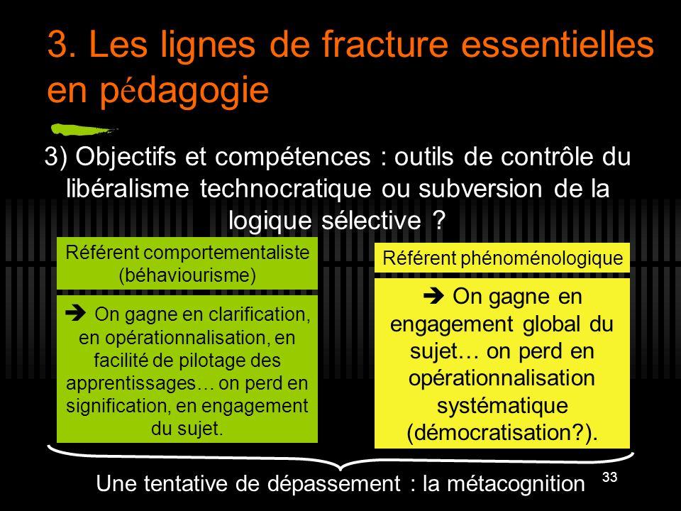 33 3. Les lignes de fracture essentielles en p é dagogie 3) Objectifs et compétences : outils de contrôle du libéralisme technocratique ou subversion