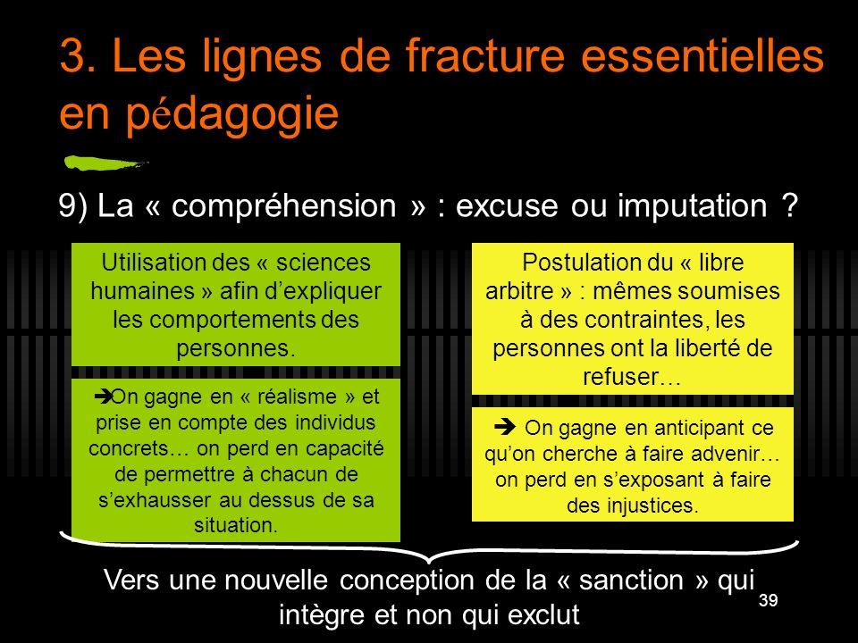 39 3. Les lignes de fracture essentielles en p é dagogie 9) La « compréhension » : excuse ou imputation ? Utilisation des « sciences humaines » afin d