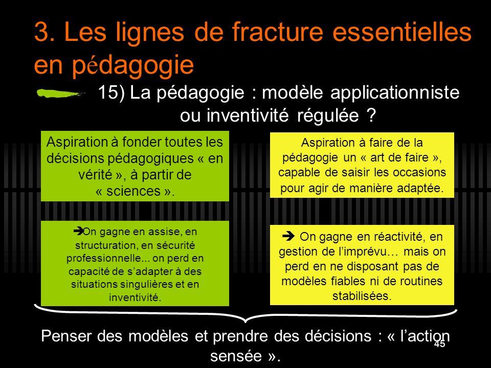 45 3. Les lignes de fracture essentielles en p é dagogie 15) La pédagogie : modèle applicationniste ou inventivité régulée ? Aspiration à fonder toute