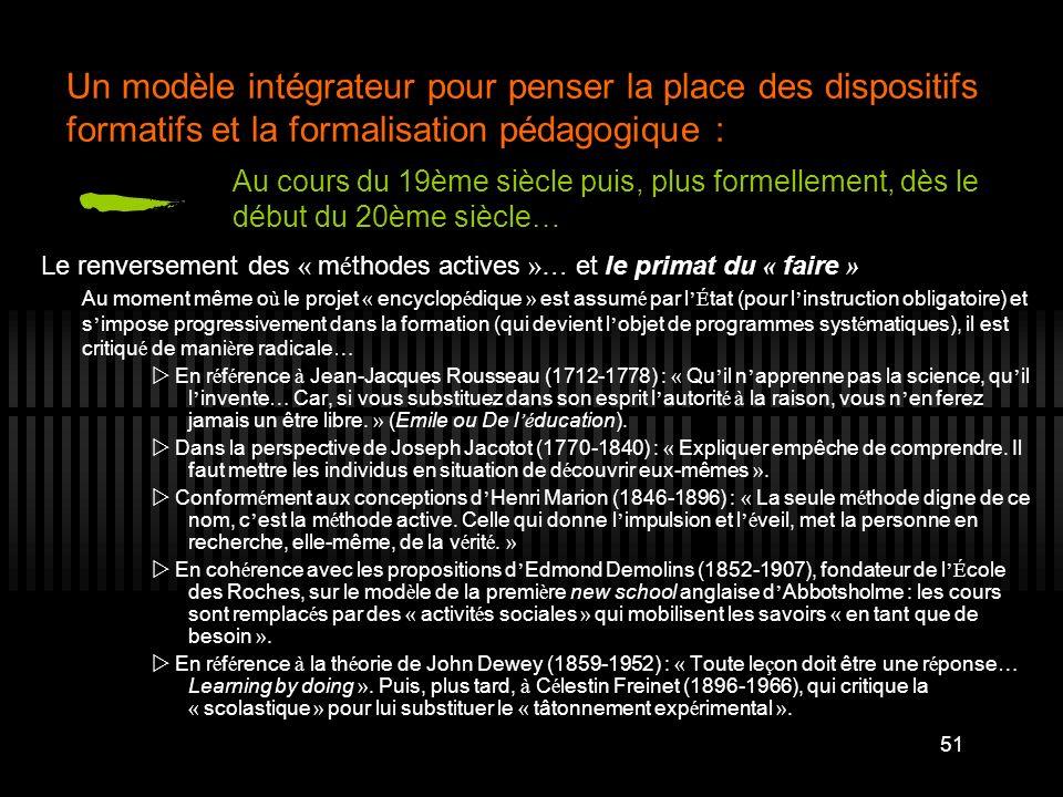 51 Un modèle intégrateur pour penser la place des dispositifs formatifs et la formalisation pédagogique : Le renversement des « m é thodes actives »…