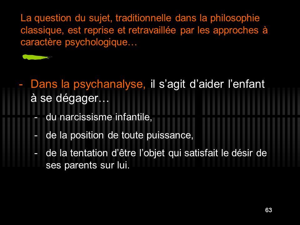63 -Dans la psychanalyse, il sagit daider lenfant à se dégager… -du narcissisme infantile, -de la position de toute puissance, -de la tentation dêtre