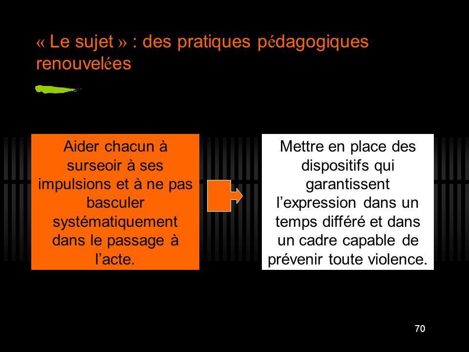 70 « Le sujet » : des pratiques p é dagogiques renouvel é es Aider chacun à surseoir à ses impulsions et à ne pas basculer systématiquement dans le pa
