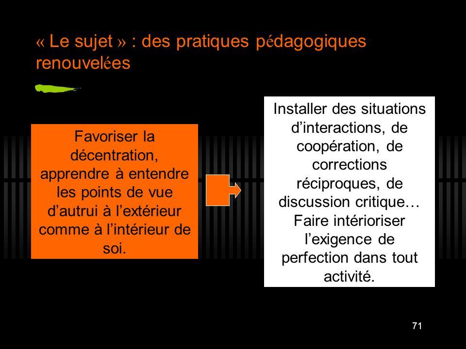 71 « Le sujet » : des pratiques p é dagogiques renouvel é es Favoriser la décentration, apprendre à entendre les points de vue dautrui à lextérieur co