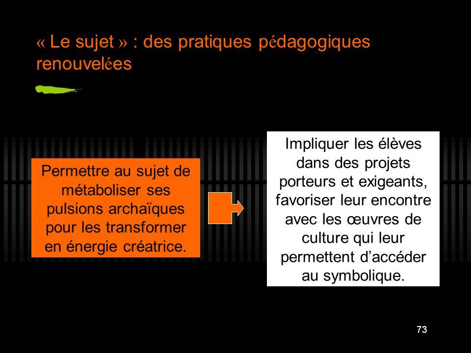 73 « Le sujet » : des pratiques p é dagogiques renouvel é es Permettre au sujet de métaboliser ses pulsions archaïques pour les transformer en énergie