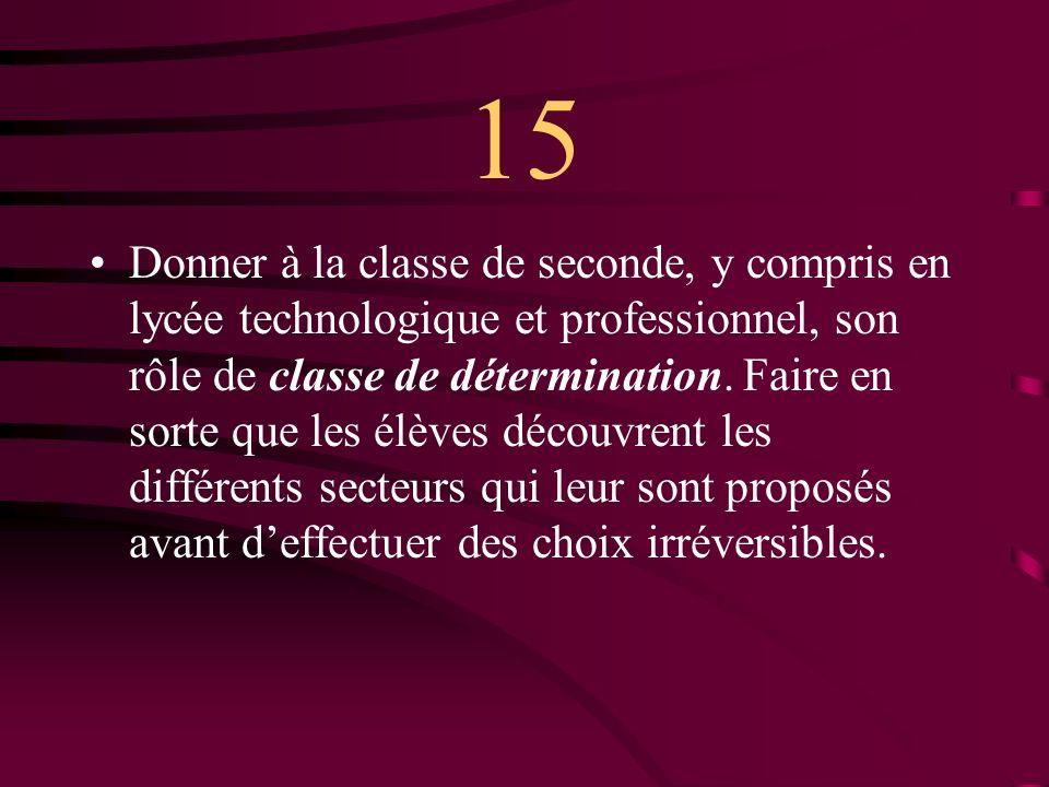 15 Donner à la classe de seconde, y compris en lycée technologique et professionnel, son rôle de classe de détermination.