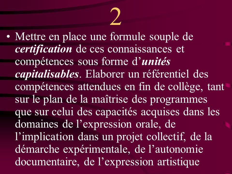 2 Mettre en place une formule souple de certification de ces connaissances et compétences sous forme dunités capitalisables.
