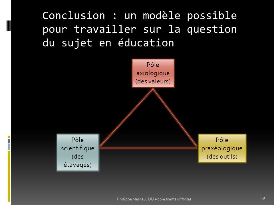 Conclusion : un modèle possible pour travailler sur la question du sujet en éducation Pôle axiologique (des valeurs) Pôle scientifique (des étayages)