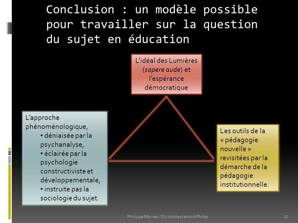 Conclusion : un modèle possible pour travailler sur la question du sujet en éducation 17 Lidéal des Lumières (sapere aude) et lespérance démocratique