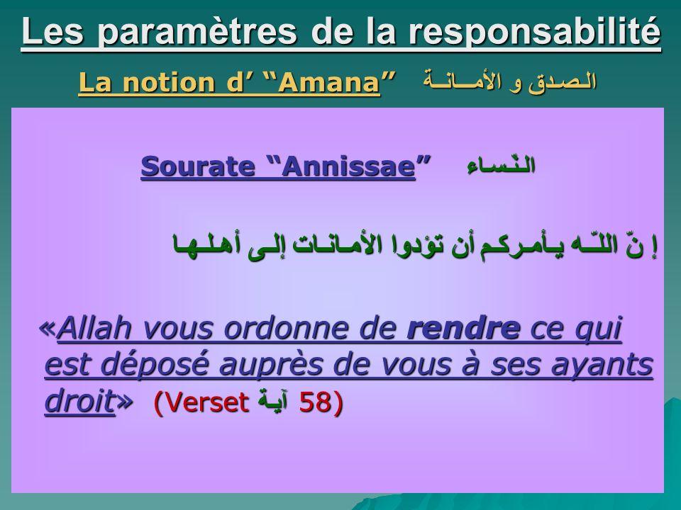 Les paramètres de la responsabilité La notion d Amana الـصـدق و الأمـــانــة Sourate Annissae الـنّـسـاء إ نّ اللـّـه يـأمـركـم أن تؤدوا الأمـانـات إلـى أهـلـهـا «Allah vous ordonne de rendre ce qui est déposé auprès de vous à ses ayants droit» (Verset آيـة 58) «Allah vous ordonne de rendre ce qui est déposé auprès de vous à ses ayants droit» (Verset آيـة 58)
