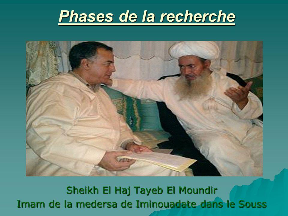 Phases de la recherche Sheikh El Haj Tayeb El Moundir Imam de la medersa de Iminouadate dans le Souss