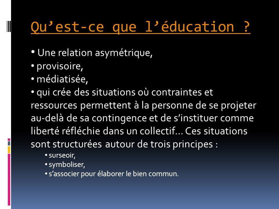 Quest-ce que léducation ? Une relation asymétrique, provisoire, médiatisée, qui crée des situations où contraintes et ressources permettent à la perso