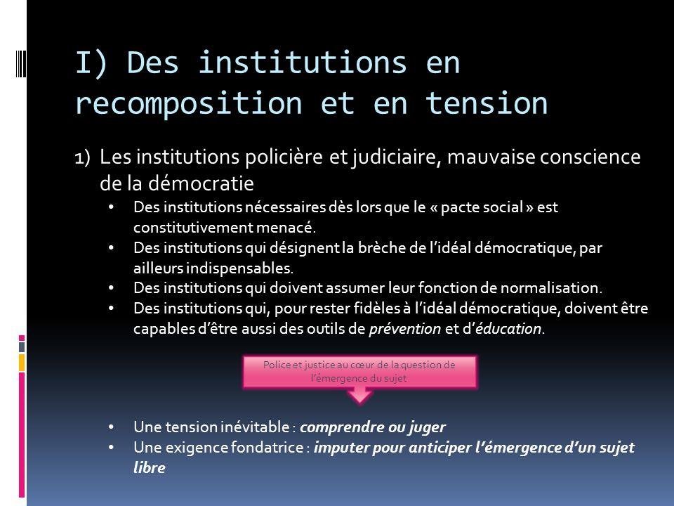 I) Des institutions en recomposition et en tension 1)Les institutions policière et judiciaire, mauvaise conscience de la démocratie Des institutions n