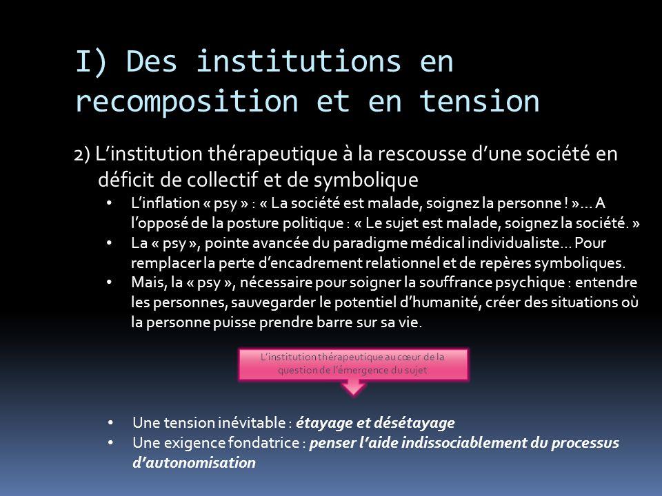 I) Des institutions en recomposition et en tension 2) Linstitution thérapeutique à la rescousse dune société en déficit de collectif et de symbolique