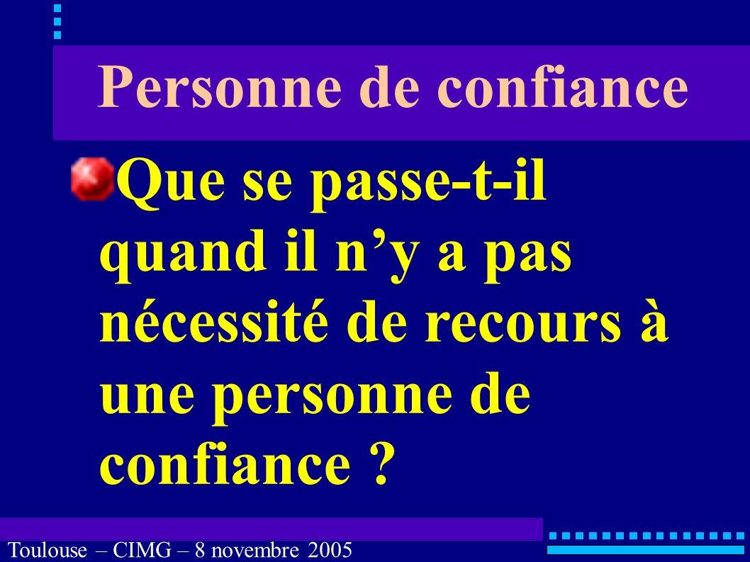 Toulouse – CIMG – 8 novembre 2005 Personne de confiance LOI n° 2002-303 du 4 mars 2002 LOI n° 2005-370 du 22 avril 2005