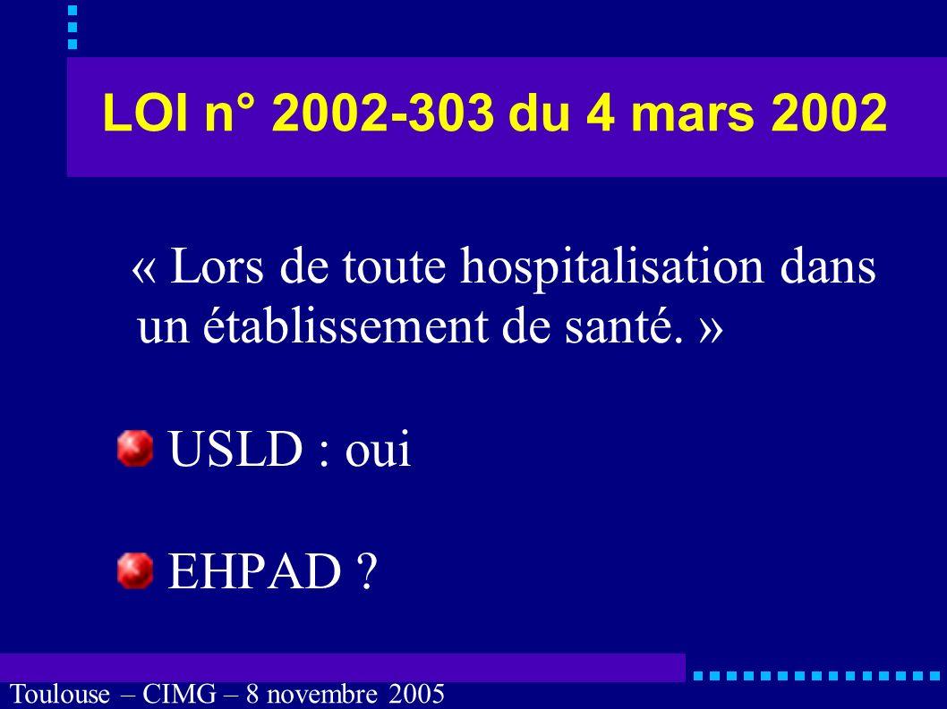 Toulouse – CIMG – 8 novembre 2005 Personne de confiance Quels sont les devoirs des soignants