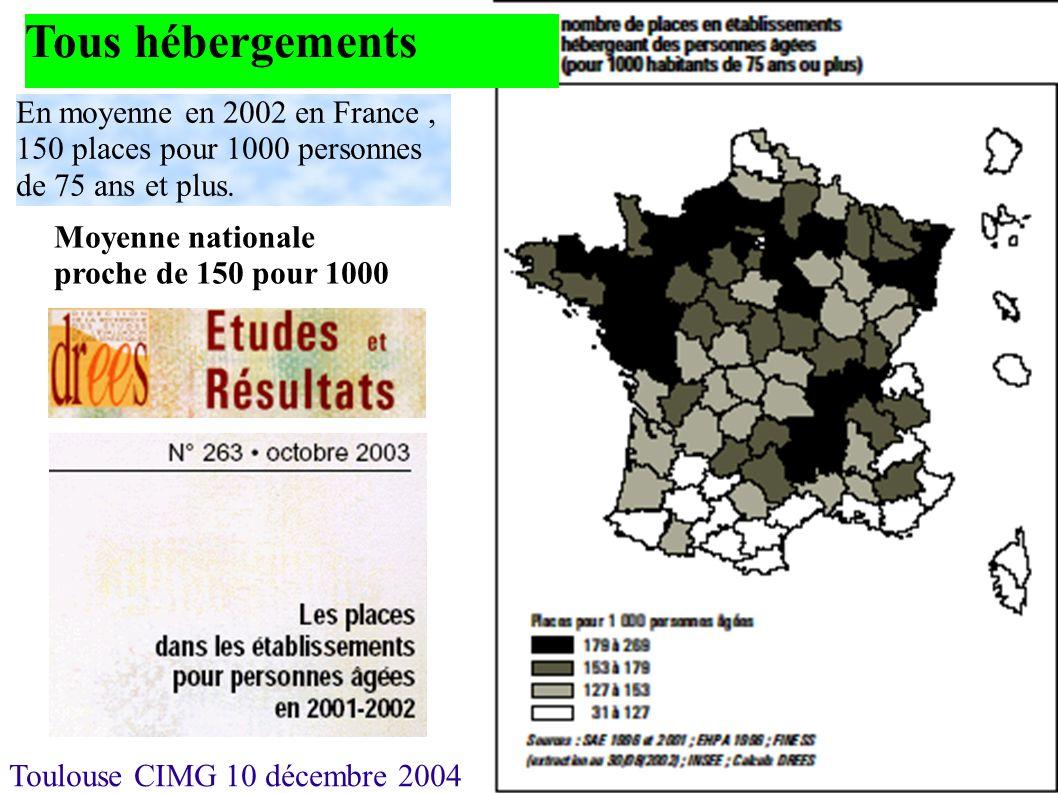 Toulouse CIMG 10 décembre 2004 Tous hébergements En moyenne en 2002 en France, 150 places pour 1000 personnes de 75 ans et plus. Moyenne nationale pro