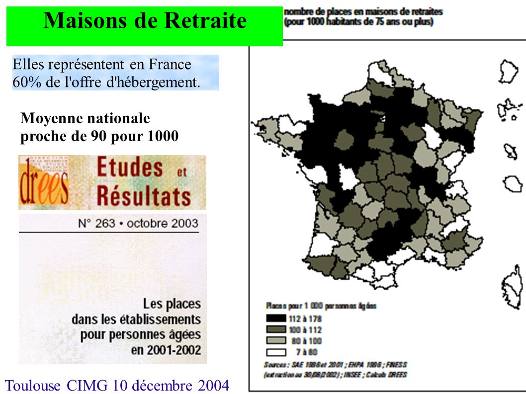 Toulouse CIMG 10 décembre 2004 Maisons de Retraite Elles représentent en France 60% de l'offre d'hébergement. Moyenne nationale proche de 90 pour 1000