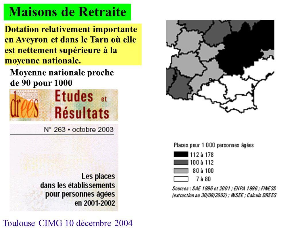 Toulouse CIMG 10 décembre 2004 Maisons de Retraite Dotation relativement importante en Aveyron et dans le Tarn où elle est nettement supérieure à la m