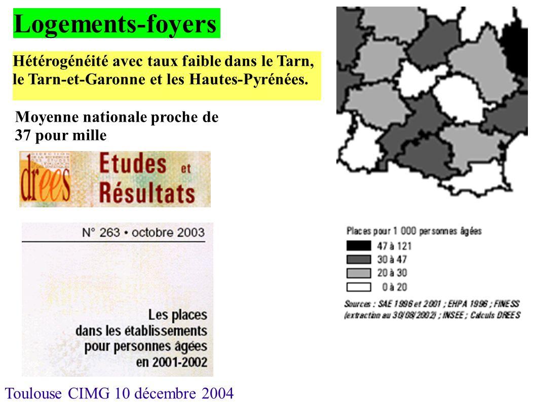 Toulouse CIMG 10 décembre 2004 Logements-foyers Hétérogénéité avec taux faible dans le Tarn, le Tarn-et-Garonne et les Hautes-Pyrénées. Moyenne nation
