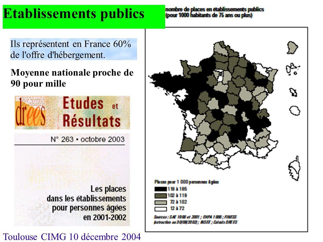 Toulouse CIMG 10 décembre 2004 Etablissements publics Moyenne nationale proche de 90 pour mille Ils représentent en France 60% de l'offre d'hébergemen
