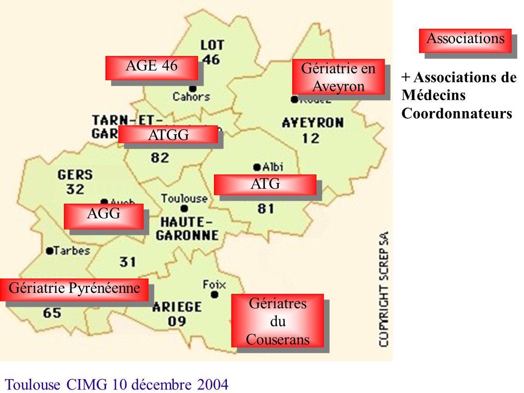 Toulouse CIMG 10 décembre 2004 Associations Gériatrie en Aveyron ATG AGE 46 ATGG AGG Gériatrie Pyrénéenne Gériatres du Couserans Gériatres du Couseran