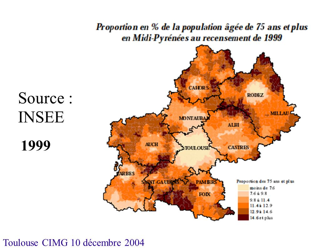 Toulouse CIMG 10 décembre 2004 Soins de Longue Durée Pauvreté relative globale sauf Aveyron et Hautes-Pyrénées Moyenne nationale proche de 22 pour mille