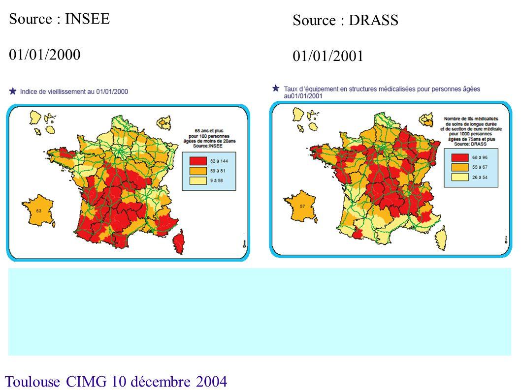Toulouse CIMG 10 décembre 2004 Tous hébergements En moyenne en 2002 en France, 150 places pour 1000 personnes de 75 ans et plus.