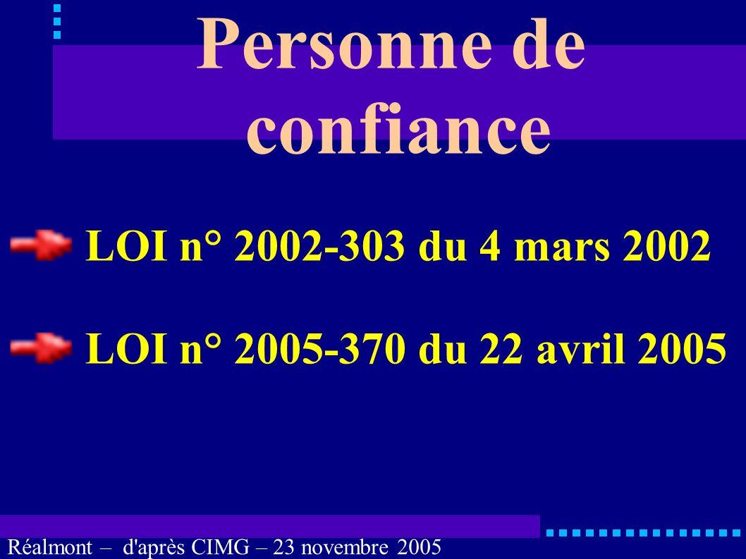 Réalmont – d'après CIMG – 23 novembre 2005 Personne de confiance Pradines B. Service de Soins de Longue Durée, Albi. Pradines V. Service du Pr Vellas,