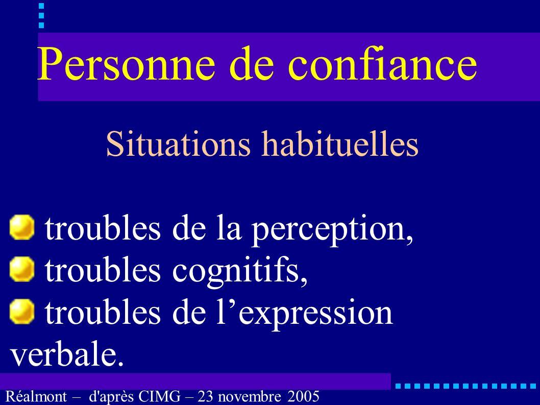 Réalmont – d'après CIMG – 23 novembre 2005 Personne de confiance Cas évidents coma profond, anesthésie générale, sédation, confusion, états végétatifs