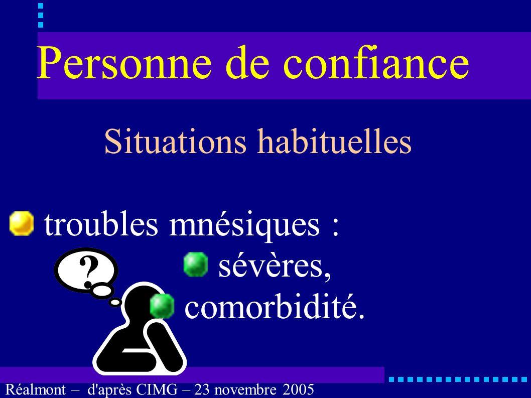 Réalmont – d'après CIMG – 23 novembre 2005 Personne de confiance Situations habituelles troubles de la perception : surdité totale, cécité totale, ass
