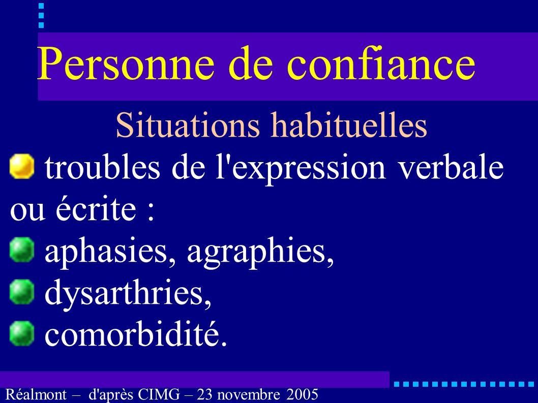 Réalmont – d'après CIMG – 23 novembre 2005 Personne de confiance Situations habituelles troubles mnésiques : sévères, comorbidité. ?